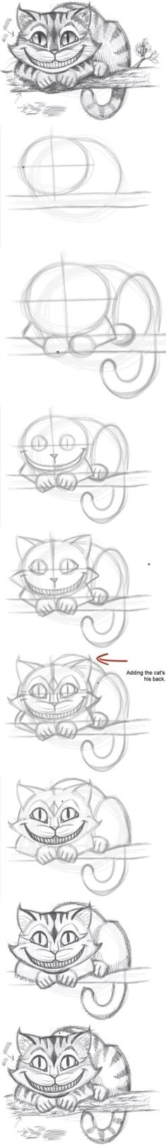Meine Disney Zeichnung - Cheshire Cat from Alice In Wonderland. How to draw the Cheshire Cat - Logischesmädchen 44 - Pin Drawing Techniques, Drawing Tips, Drawing Sketches, Cool Drawings, Drawing Ideas, Sketching, Drawing Stuff, Sketch Ideas, Easy Sketches