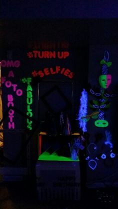 Photo booth done at 13th bday glow/black light party