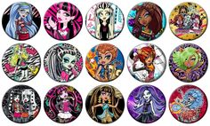 """Monster High Lot of 15 Pin Back 1"""" Buttons Badges One inch – Set 2 