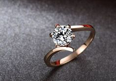 Twisted rose gold ring (Ronde Moissanite bague de fiançailles bague en par Donatellawedding, $380.00)
