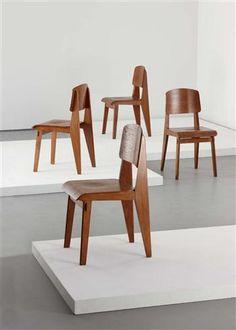 """""""Tout Bois"""" chairs, Manufactured by Les Ateliers Jean Prouvé, France, c.1941"""