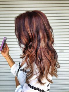 dark brown hair with blonde and red highlights: