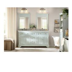 Home Decorators Collection Sadie 67 in. Double Vanity in Antique Cream with Marble Vanity Top in White-1666700450 - The Home Depot