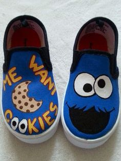 Hand Painted shoes for the little one representing our favorite Sesame Street character Cookie Monster
