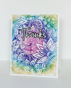 I used Memento Markers, coloring directly onto the stamp, then spritzing with water before stamping. Flower Stamp, My Flower, Flowers, Note Cards, Thank You Cards, Batik Art, Simon Says Stamp, Card Maker, Hero Arts