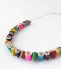 Colored pencils necklace, upcycled colored pencils whimsical necklace, back to school, eco friendly