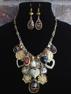Gold Bib Statement Necklace Charm Necklace by DesignsbyStalinda, $81.00