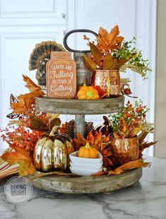 Dining Delight: Tiered Tray Decor for Fall and Halloween Fall Kitchen Decor, Fall Home Decor, Autumn Home, Halloween Kitchen Decor, Thanksgiving Decorations, Seasonal Decor, Halloween Decorations, Fall Decorations, Fall Table Centerpieces