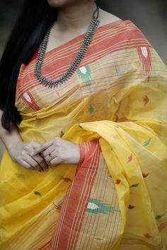 Handwoven Crisp Cotton Saree with Jamdani work by Dvija Chanderi Silk Saree, Organza Saree, Bandhani Dress, Sari Dress, Chiffon Saree, Dress Skirt, Simple Saree Designs, Simple Sarees, Silk Sarees Online Shopping