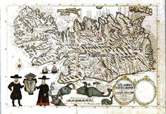 Ancient map of Iceland; Vintage map
