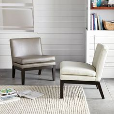 Leather Slipper Chair #westelm Like these as 4 chairs facing each other or have 2facing each other and have the sofa