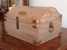 Oak treasure chest I made for my grandson's 4th birthday.