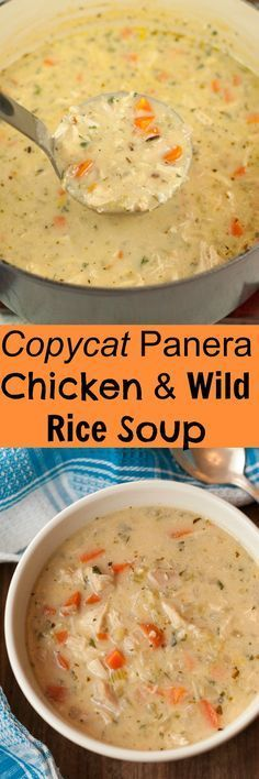 Copycat Panera Chicken & Wild Rice Soup Copycat Panera Chicken & Wild Rice Soup recipe is simple, creamy, and tastes exactly like my favorite soup at Panera Bread! It's comfort food in the cold weather, yet light enough for the spring & summer! New Recipes, Crockpot Recipes, Chicken Recipes, Cooking Recipes, Healthy Recipes, Recipies, Panera Chicken Rice Soup Recipe, Creamy Chicken Rice Soup, Summer Soup Recipes