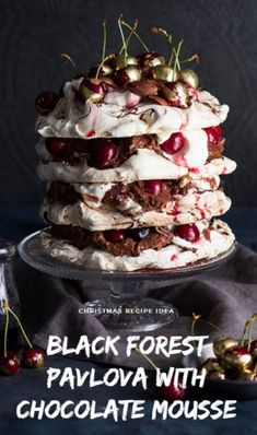 Black Forest Pavlova with Chocolate Mousse Mousse Dessert, Gourmet Recipes, Sweet Recipes, Dessert Recipes, Gourmet Foods, Easy Recipes, Chocolate Cherry, Melting Chocolate, Meringue Desserts