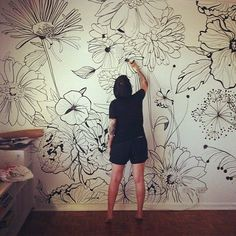 Beautiful line drawings- black on cream mural