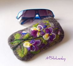 Image detail for -Wet Felted Spring Pansy flowers Eyeglasses Case Ready to Ship garden ...