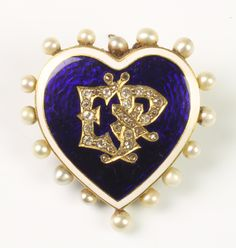 LOT 616, A Victorian yellow gold blue and white guilloche enamel diamond and pearl heart brooch with the monogram E P, SOLD £350