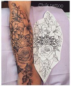 Beautiful Flower Tattoos, Small Flower Tattoos, Pretty Tattoos, Cute Tattoos, Body Art Tattoos, Small Tattoos, Tatoos, Flower Sleeve Tattoos, Mandala Flower Tattoos