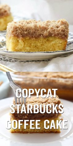 is a great copycat recipe for the classic Starbucks Coffee Cake. Made with simple ingredients and super tasty! is a great copycat recipe for the classic Starbucks Coffee Cake. Made with simple ingredients and super tasty! Café Starbucks, Starbucks Coffee Cake Recipe, Best Coffee Cake Recipe, Starbucks Recipes, Yogurt Coffee Cake Recipe, Starbucks Breakfast, Easy Homemade Recipes, Easy Cake Recipes, Dessert Recipes