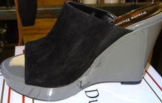 Two Tone Black and Pewter Slide Peep Toe Wedge