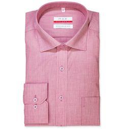 Modern Fit polopriliehavá košeľa Ružovobordová jednofarebná 100% bavlna Filafil  (plátno)