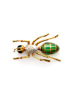 Ca. 1960's Two Tone & Diamond Ant Brooch by Tara Compton on Gilt.com