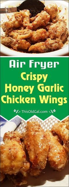 Air Fryer Crispy Honey Garlic Chicken Wings are great as an appetizer or a main course. Healthier then deep frying, these wings are so crispy and delicious. via @thisoldgalcooks