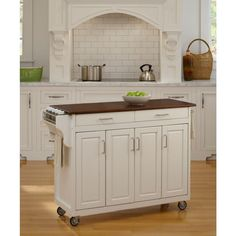 Create A Cart White Kitchen Cart With Towel Bar