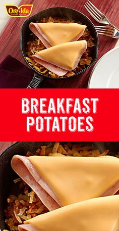 Golden hash brown potatoes are served with a topping of sliced ham and melted cheese in this delicious breakfast entrée. Ore Ida, Shredded Hash Browns, Sliced Ham, Breakfast Potatoes, Melted Cheese, Entrees, Snack Recipes, Chips, Cooking
