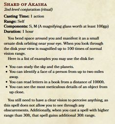 Karlirah's Flavourful spells - Shard of Akasha - Mostly out of combat spells with roleplay possibilities - UnearthedArcana Dungeons And Dragons 5e, Dungeons And Dragons Homebrew, Dark Dungeons, Dnd Classes, Writing Fantasy, Dnd 5e Homebrew, Darkest Dungeon, Dnd Monsters, Drawing Templates