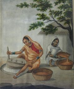 Millers. Watercolour on paper, Company School, Patna, first half 19th century