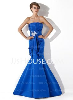 Evening Dresses - $119.99 - Mermaid Scalloped Neck Sweep Train Satin Evening Dress With Ruffle Beading Appliques (017013778) http://jjshouse.com/Mermaid-Scalloped-Neck-Sweep-Train-Satin-Evening-Dress-With-Ruffle-Beading-Appliques-017013778-g13778
