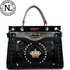 Click Here and Buy it On Amazon.com $59.99 Amazon.com: Nicole Lee Jasmine Crown Designed Tote Turn Lock Rhinestone Gemstone Studded Floral Shiny Patent Leather Structured Tote Satchel Handbag Purse with Adjustable Shoulder Strap in Black: Clothing