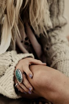 nail polish, statement ring, knit sweaters, summer style, nail colors, turquoise jewelry, cocktail ring, oversized sweaters, cozy sweaters