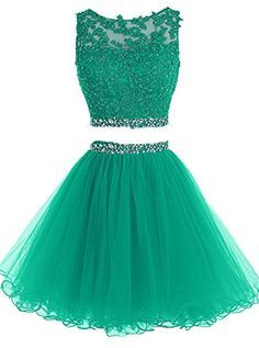 Pettus Women's Two Pieces Lace Bodice Beaded Short Prom Dress Homecoming Dresses Dama Dresses, Quince Dresses, Hoco Dresses, Junior Dresses, Dresses For Teens, Homecoming Dresses, Cute Dresses, Elegant Dresses, Sexy Dresses