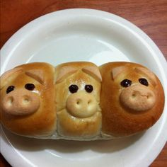 Pig shaped breads