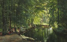 Carl Frederik Peder Aagaard - A stream in the spring woods with two women in a rowing boat