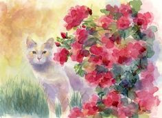 """B-Puss in the Roses"" original fine art by Pamela Gatens"