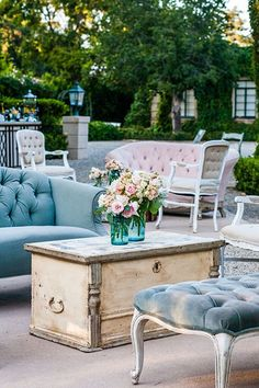 Create an area where guests can kick back and relax using colorful rental lounge furniture.