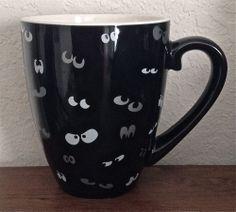 STARBUCKS Coffee Mug Cup Halloween Eyes Black 20 oz. 2002 Barista Limited RARE