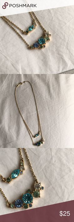 Multi layer necklace Multi layer gemstone necklace. Falls right below your collar bone for the first layer and about half an inch lower is the second set of gems. Aqua colors. So gorgeous! Banana Republic Jewelry Necklaces