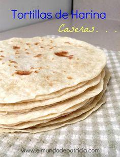 Esta receta de tortillas de harina me parece fácil para un resultado perfecto. No Salt Recipes, My Recipes, Mexican Food Recipes, Cooking Recipes, Favorite Recipes, Mexican Dishes, Homemade Flour Tortillas, Mexico Food, Tapas