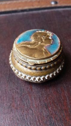 Antique french italian brass snuff pill box with by TesoriDiMiri