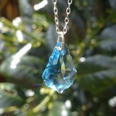 Swarovski Crystal Necklace,Swarovski Crystal Pendant,Sterling Silver Chain,Blue Pendant,Swarovski Necklace,Crystal Pendant,Baroque Crystal by JewelleryTreeGifts on Etsy
