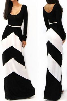 KCLOTH Striped Summer Maxi Dress with Zigzag Pattern
