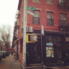 Alphabet city, NYC   (   I wonder if Avenue A Sushi is still around??  Sketchy neighborhood, but great sushi <3 -ja )