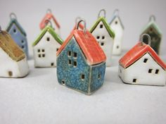 Your place to buy and sell all things handmade Clay Houses, Mini Houses, Ceramic Houses, Miniature Houses, Little Houses, Small Houses, Red Roof, Christmas Crafts, Christmas Ideas