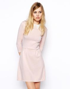 ASOS Knitted Skater Dress With Lace Collar
