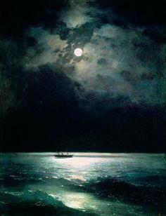 The black sea at night, Ivan Aivazovsky , Oil on canvas, 1879 - Art Nocturne, Night Sea, Dark Night, Moonlight Painting, Night Scenery, Black Sea, Aesthetic Art, Art History, Art Museum