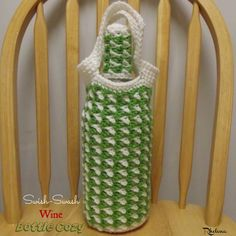 FREE crochet pattern for the Swish-Swash Wine Bottle Cozy. The cozy is worked in two colors, but choose more or less to get the look that you want.